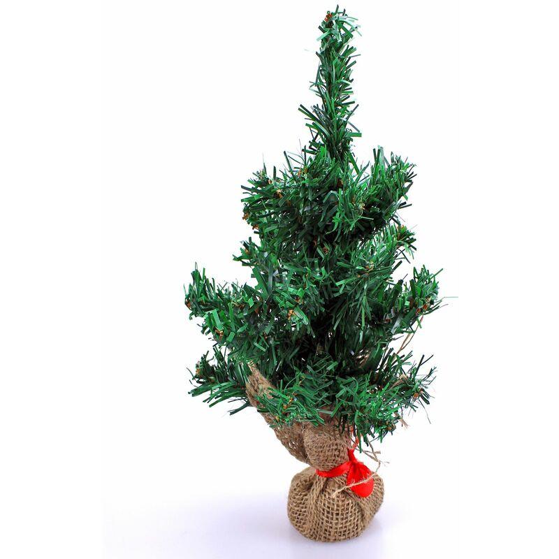 künstlicher Tisch Weihnachtsbaum im Jutesack 45cm Christbaum Mini Tannenbaum