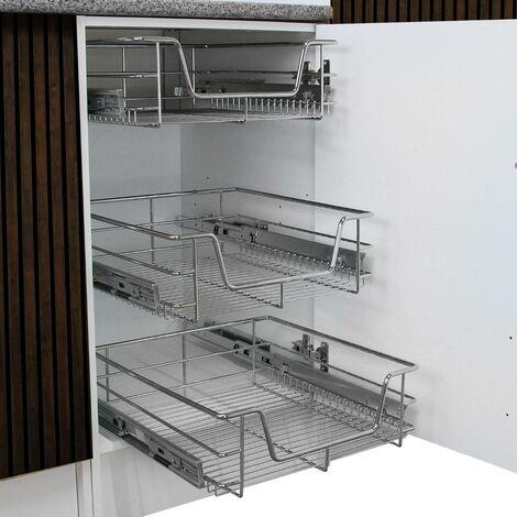 KuKoo – 3 Paniers Coulissants pour Placard ou Cabinet de Cuisine de 30cm. Tiroirs coulissants à système de fermeture amortie