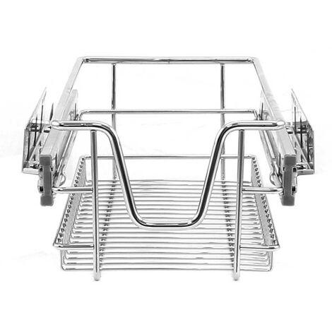 KuKoo – 3 Paniers Coulissants pour Placard ou Cabinet de Cuisine de 30cm. Tiroirs coulissants à système de fermeture amortie - Argent
