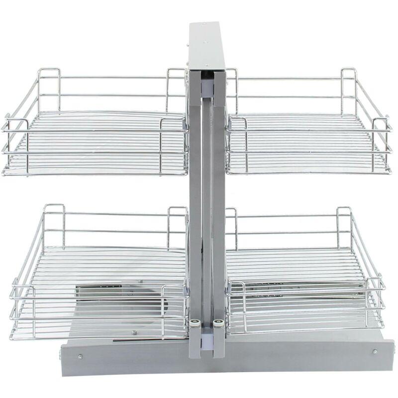 4 Cestos de Acero Inoxidable para Mueble de Rinc/ón Ciego 90-100cm Kukoo Mano Derecha