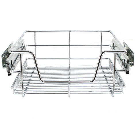 """main image of """"KuKoo 4 x Kitchen Pull Out Soft Close Baskets, 400mm Wide Cabinet, Slide Out Wire Storage Drawers"""""""
