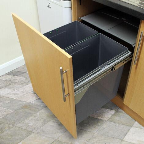 KuKoo poubelles coulissantes pour la cuisine Poubelles Poubelles de recyclage à domicile 49.5cm (H) x 56.5cm (L) x 48.4cm (P) - Argent