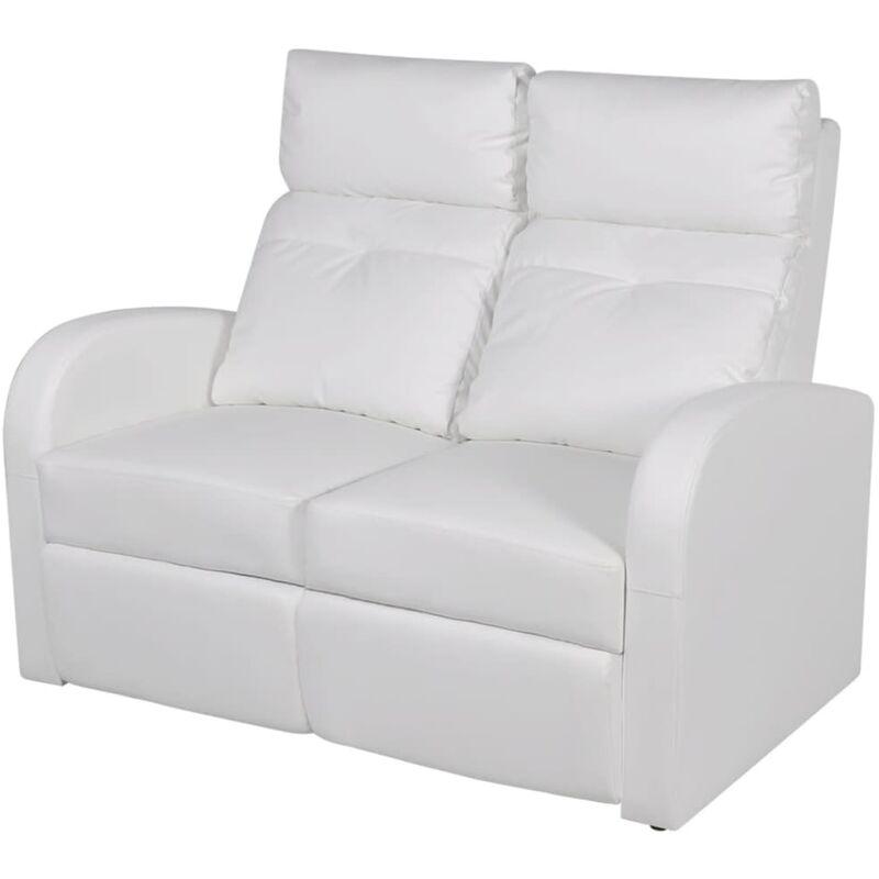 Relaxsessel 2-Sitzer Kunstleder Weiß - VIDAXL