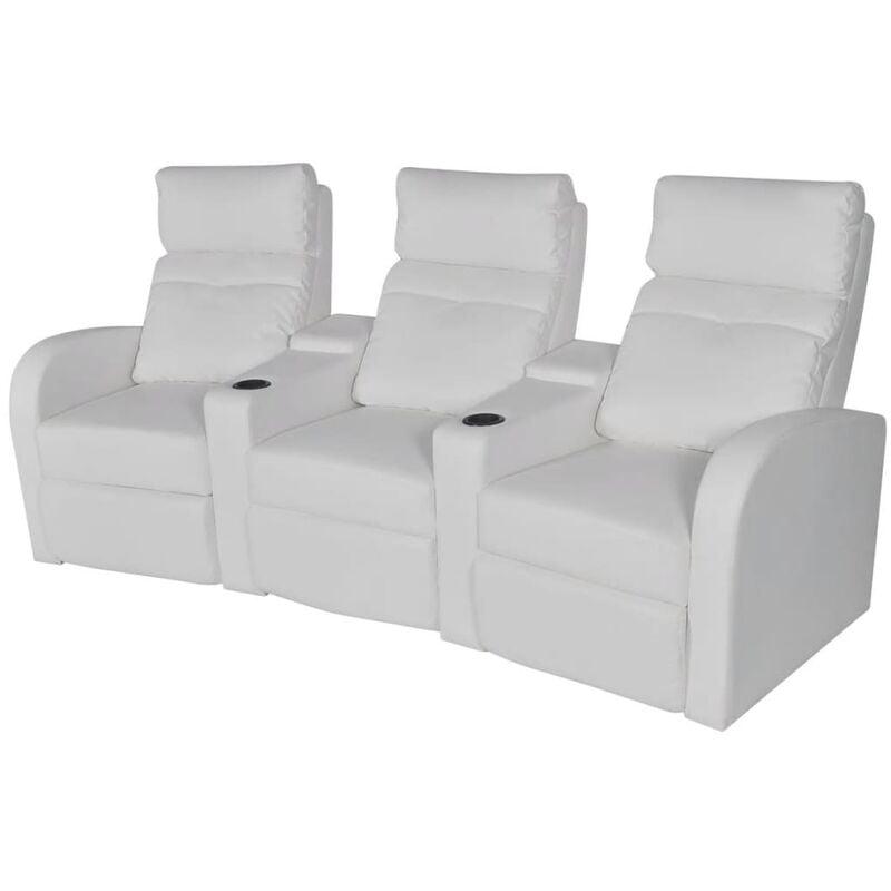 Relaxsessel 3-Sitzer Kunstleder Weiß - VIDAXL