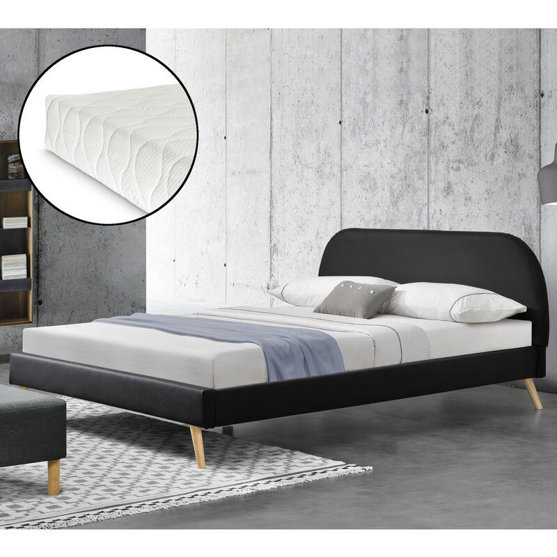 Kunstlederbett mit Matratze 140x200 cm Polsterbett mit Kaltschaummatratze Doppelbett Jugendbett mit Lattenrost Kunstleder Schwarz - CORIUM