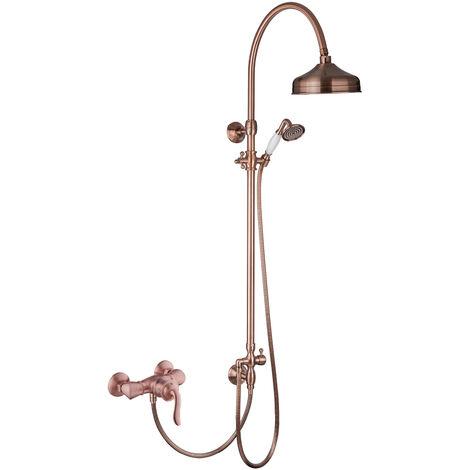 Kupfer Aufputz Duschsystem Retro Set Duscharmatur Rote Bronze
