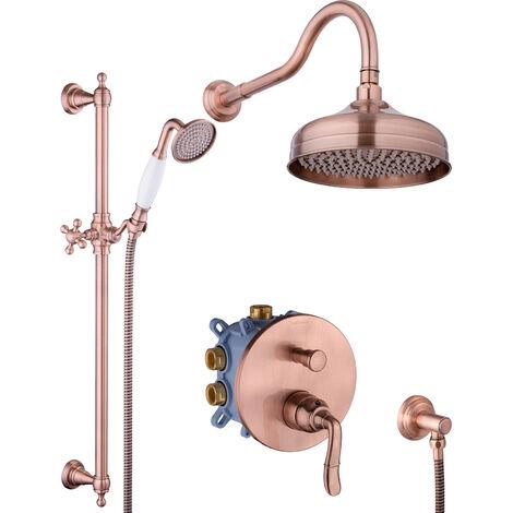 Kupfer Duschsystem Antik Nostalgie Dusch-Set Unterputz Regendusche