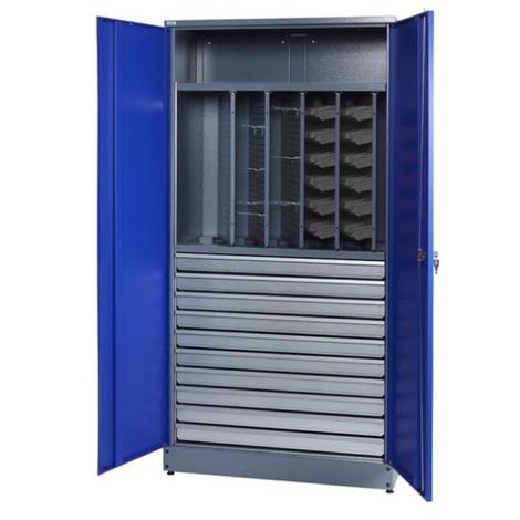 Kupper - Armoire 2 portes 1 étagère 10 tiroirs et 36 boites de rangement - Bleu marine