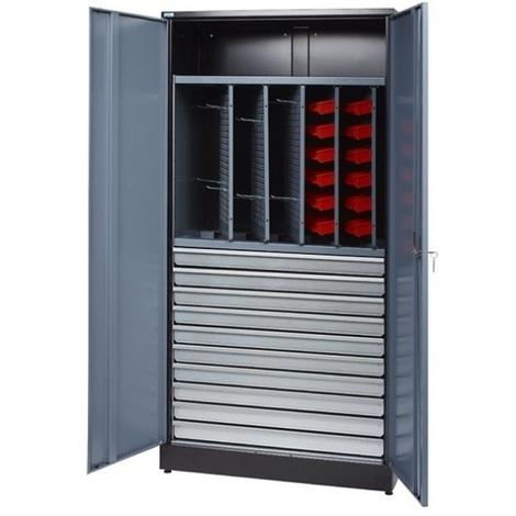 Kupper - Armoire 2 portes 1 étagère 10 tiroirs et 36 boites de rangement - Gris