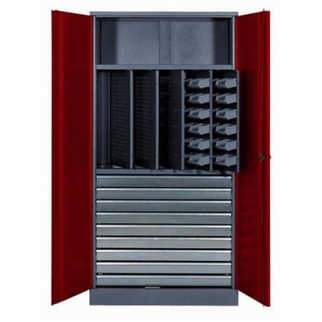 Kupper - Armoire 2 portes 1 étagère 10 tiroirs et 36 boites de rangement - Rouge