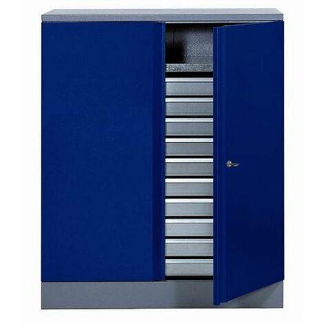 Kupper - Armoire 2 portes 1 étagère et 10 tiroirs - Bleu marine