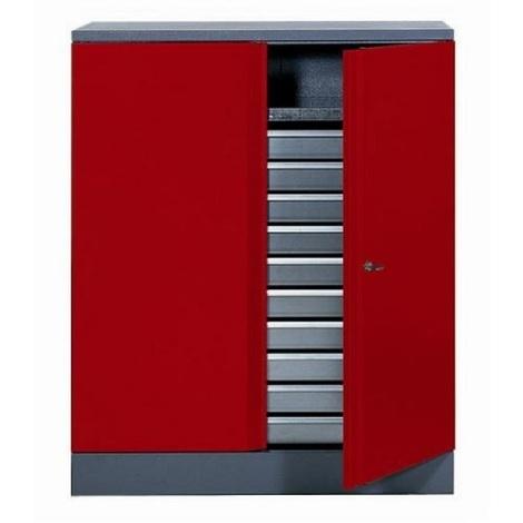 Kupper - Armoire 2 portes 1 étagère et 10 tiroirs - Rouge