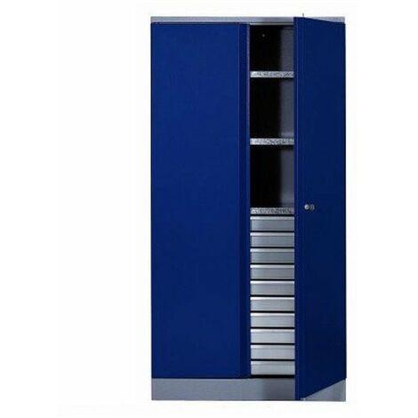 Kupper - Armoire 2 portes et 3 étagères et 10 tiroirs - Bleu marine