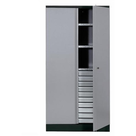 Kupper - Armoire 2 portes et 3 étagères et 10 tiroirs - Gris