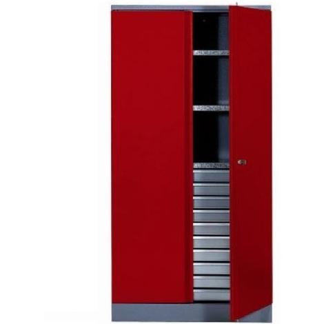 Kupper - Armoire 2 portes et 3 étagères et 10 tiroirs - Rouge