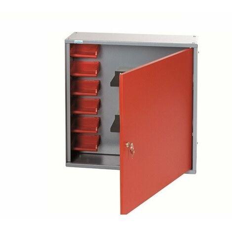 Kupper - Armoire murale 1 porte 2 étagères et 6 boites de rangement longueur 60 cm - Rouge