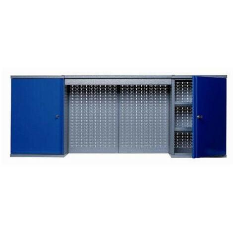 Kupper - Armoire murale 2 portes 4 étagères et 2 panneaux muraux - Bleu marine