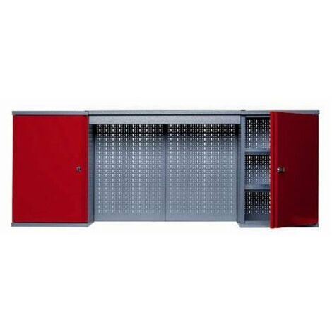Kupper - Armoire murale 2 portes 4 étagères et 2 panneaux muraux - Rouge - TNT