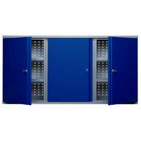Kupper - Armoire murale 3 portes verrouillables 4 étagères - Bleu marine - TNT
