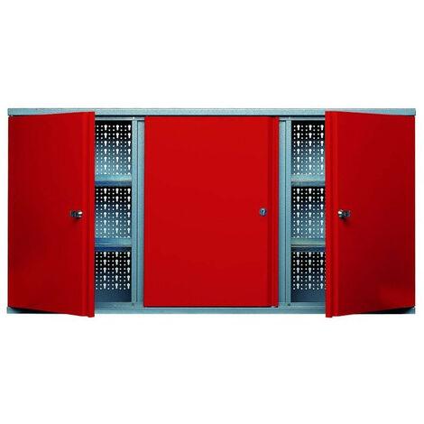 Kupper - Armoire murale 3 portes verrouillables 4 étagères Longueur 1.2m- Rouge