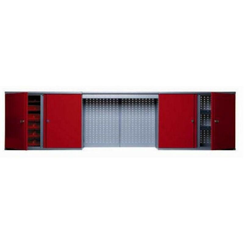 Kupper – Armoire murale 4 portes 4 étagères et 36 boites de rangement - Rouge