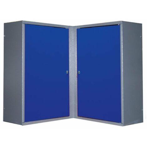 Kupper - Armoire murale d'angle 2 portes 4 étagères - Bleu marine