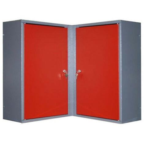 Kupper - Armoire murale d'angle 2 portes 4 étagères - Rouge