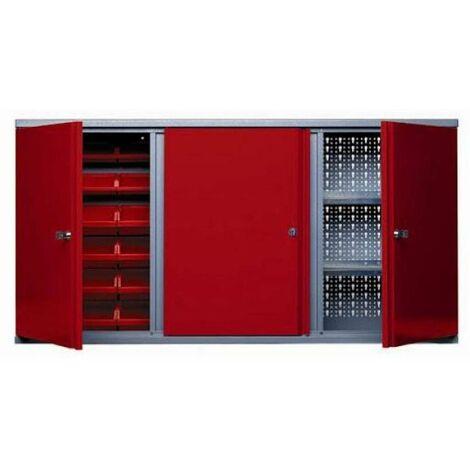 Kupper - Armoire murale Long 120cm 3 portes 2 étagères et 18 boites de rangement - Rouge