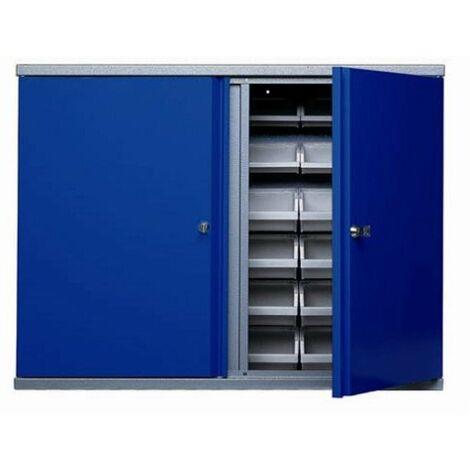 Kupper - Armoire murale Long 80cm 2 portes et 36 boites de rangement - Bleu marine
