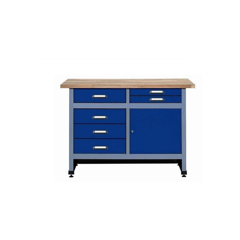 Promo Kupper - Etabli 1 porte et 6 tiroirs L:1,2 m - Bleu marine 12247