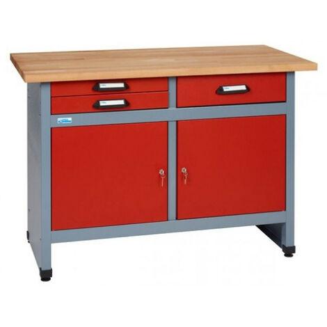 Kupper - Etabli 2 portes et 3 tiroirs Long: 120 cm - Rouge 12252