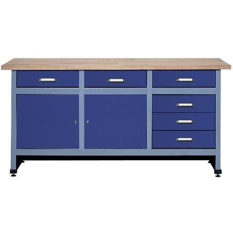 Kupper - Etabli 2 portes et 6 tiroirs Long 170cm - Bleu marine 12177