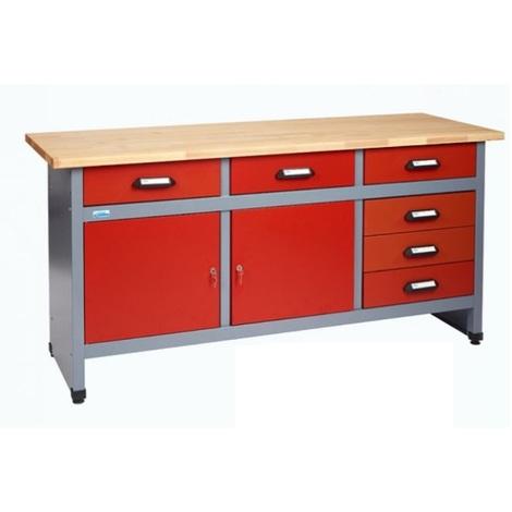 Kupper - Etabli Rouge 2 portes et 6 tiroirs Long 1,70m - Rouge - 12172