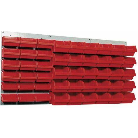 Kupper - Panneau mural perforé L120 x H60cm et 48 boites de rangements rouge - TNT