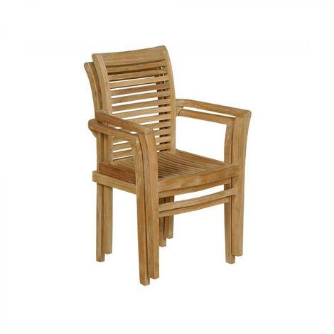 Kursi: Juego de 2 sillas de teca apilables