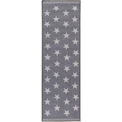 Kurzflorteppich Sternteppich Kinderteppich verschiedene Größen Stars Wohnraum Grau Weiß