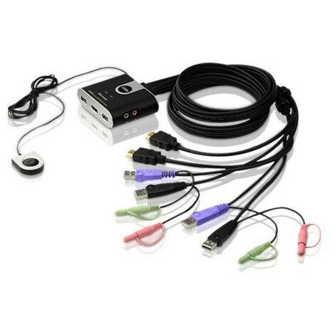 Kvm Hdmi Usb Audio 2salidas Con Selector Cs692
