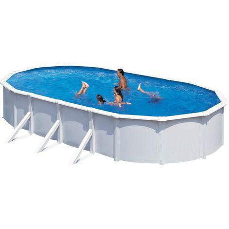 KWAD Ensemble de piscine Steely Deluxe Ovale 6,1x3,6x1,2 m