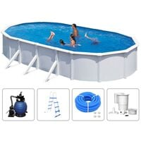 KWAD Swimming Pool Set Steely Deluxe Oval 6.1x3.6x1.2 m