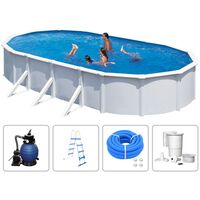 KWAD Swimming Pool Set Steely Deluxe Oval 7.3x3.6x1.2 m