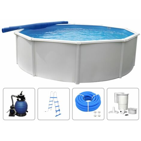 KWAD Swimming Pool Set Steely Deluxe Round 4.6x1.2 m