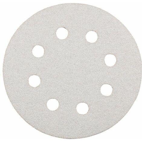 KWB Disques abrasifs QUICK-STICK, BOIS ET VERNIS, argent, Ø 125 mm, perforés, K80 - 495908