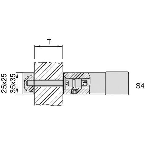 KWS 8B54 pomo de puerta de montaje S4-M8 paraGlas,Ros.25x25mm