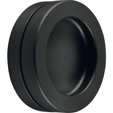 KWS Schiebetürmuschel-Paar selbstklebend, Muschelgriff Ø 65mm, Aluminium schwarz matt