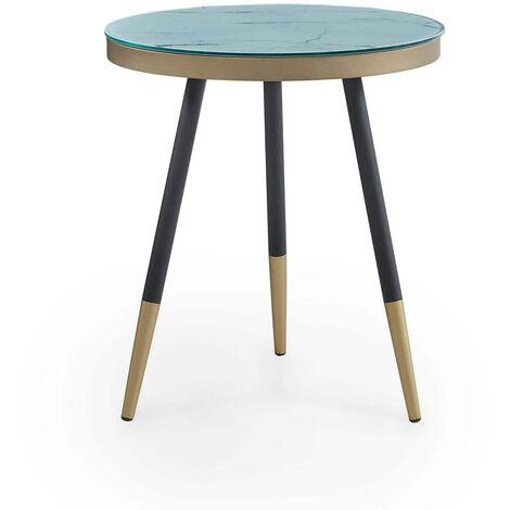 KYLIE - Table d'appoint en bois MDF imitation marbre
