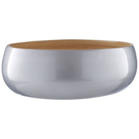 Kyoto Medium Bowl, Spun Bamboo, Metallic Silver