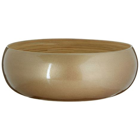 Kyoto Round Large Bowl, Spun Bamboo, Metallic Gold