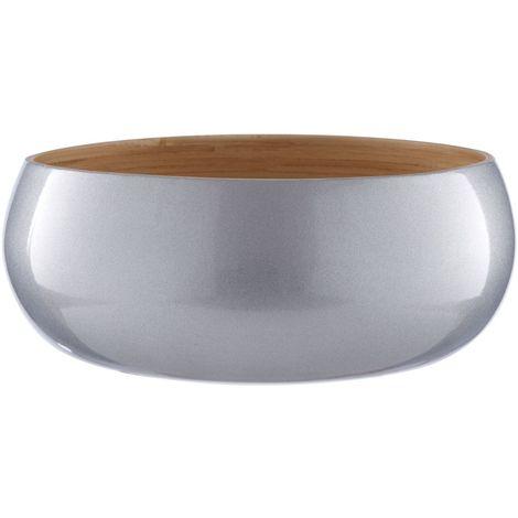 Kyoto Small Bowl, Spun Bamboo, Metallic Silver
