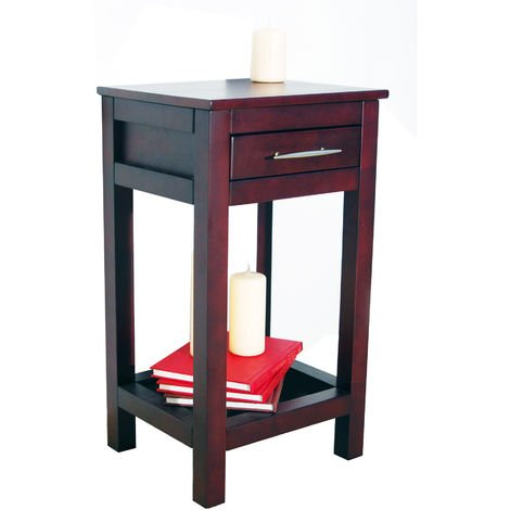 KYOTO - Solid Wood Storage Telephone / End Table with Drawer - Wenge