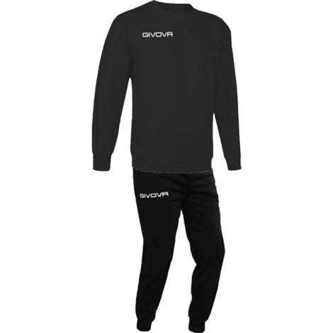 L Black Givova Sweatshirt and Tracksuit Bottoms Football Training Jumper Jogging
